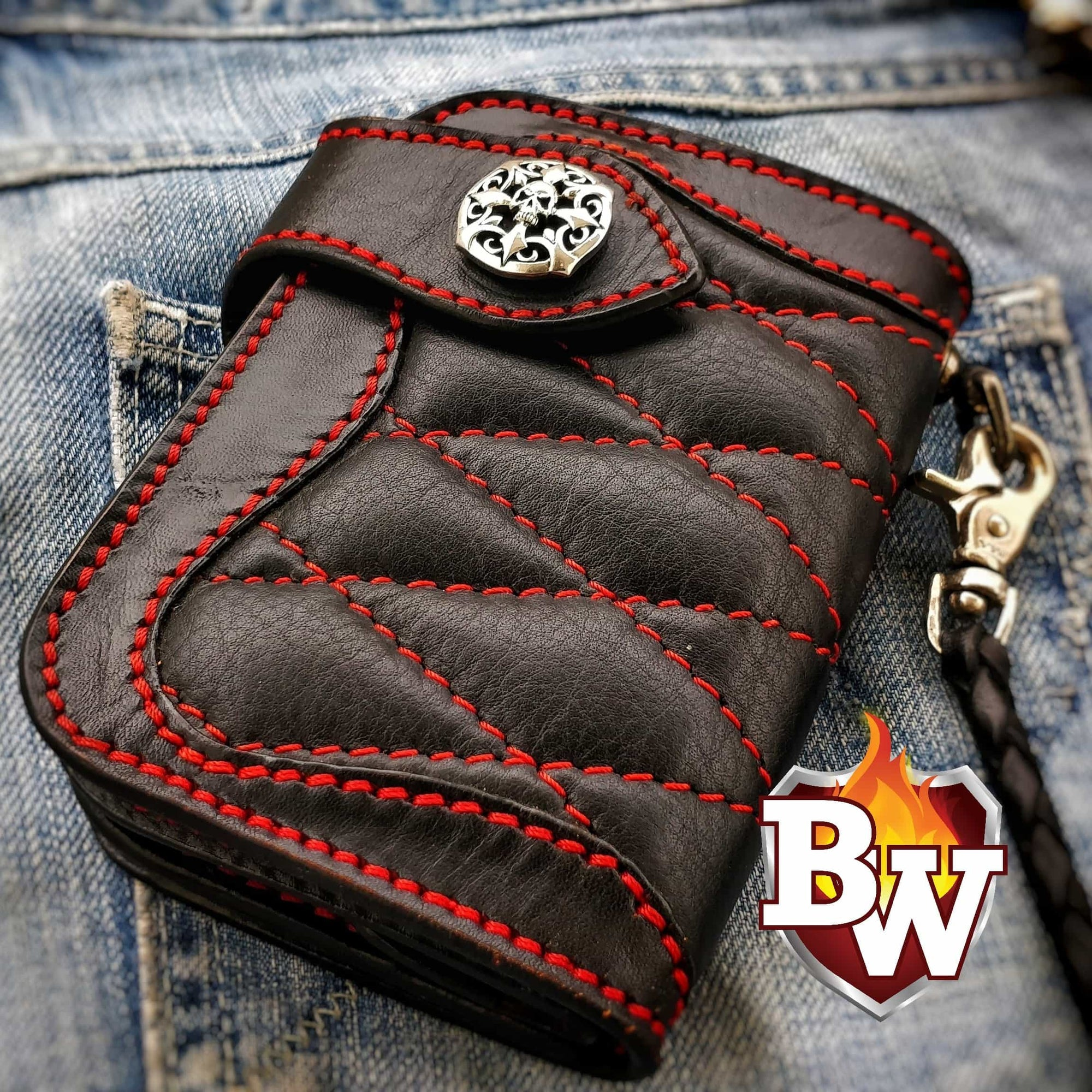 """Low Rider"" 5"" Custom Handmade Leather Biker Wallet"