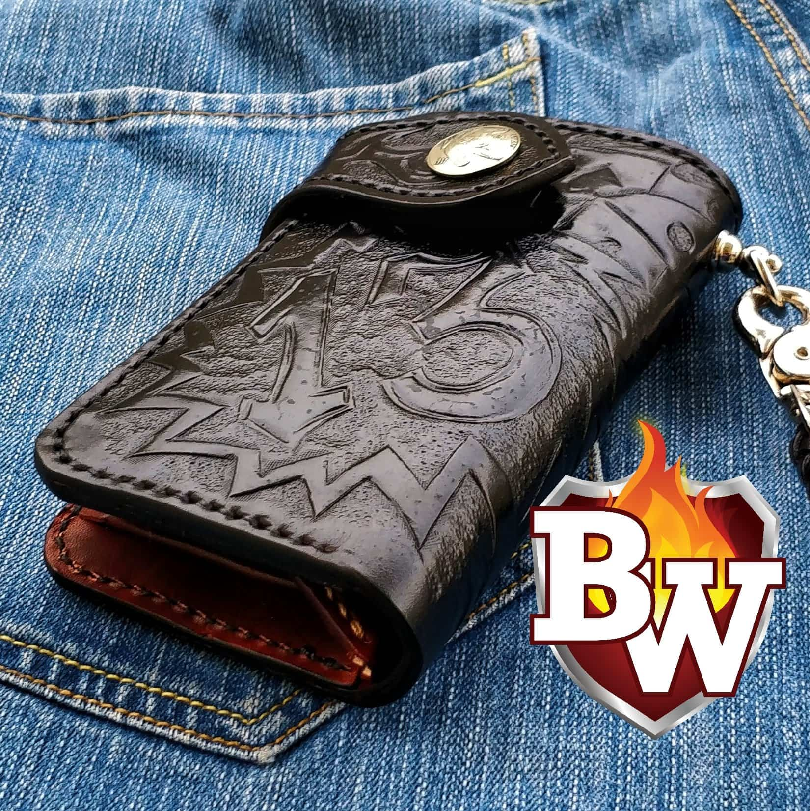 """Lucky 13"" 6"" Leather Custom Hand Tooled Handmade Biker Wallet"