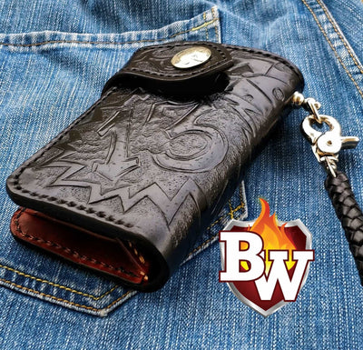 Lucky 13-inch 6-inch Leather Custom Hand Tooled Custom Handmade Biker Wallet | Custom Handmade Men's Leather Wallets at Biker-Wallets.com