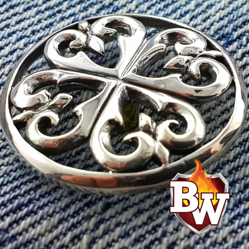 """Lucky Charm"" .925 Silver Snap Concho Cap for Custom Biker Wallet"