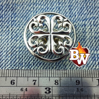 Lucky Charm .925 Silver Snap Concho Cap for Custom Biker Wallet | Custom Handmade Men's Leather Wallets at Biker-Wallets.com