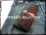 Manta Ray Red 8 Custom Handmade Stingray Men's Biker Wallet - Handcrafted Quality Genine Leather Backed by a 5-Year Warranty - Biker-Wallets.com