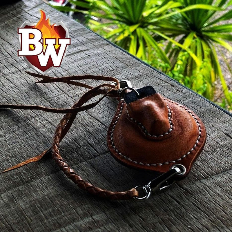 """Melrose Round Key"" Handmade Biker Leather Harley Davidson Keychain Smart Security System FOB"
