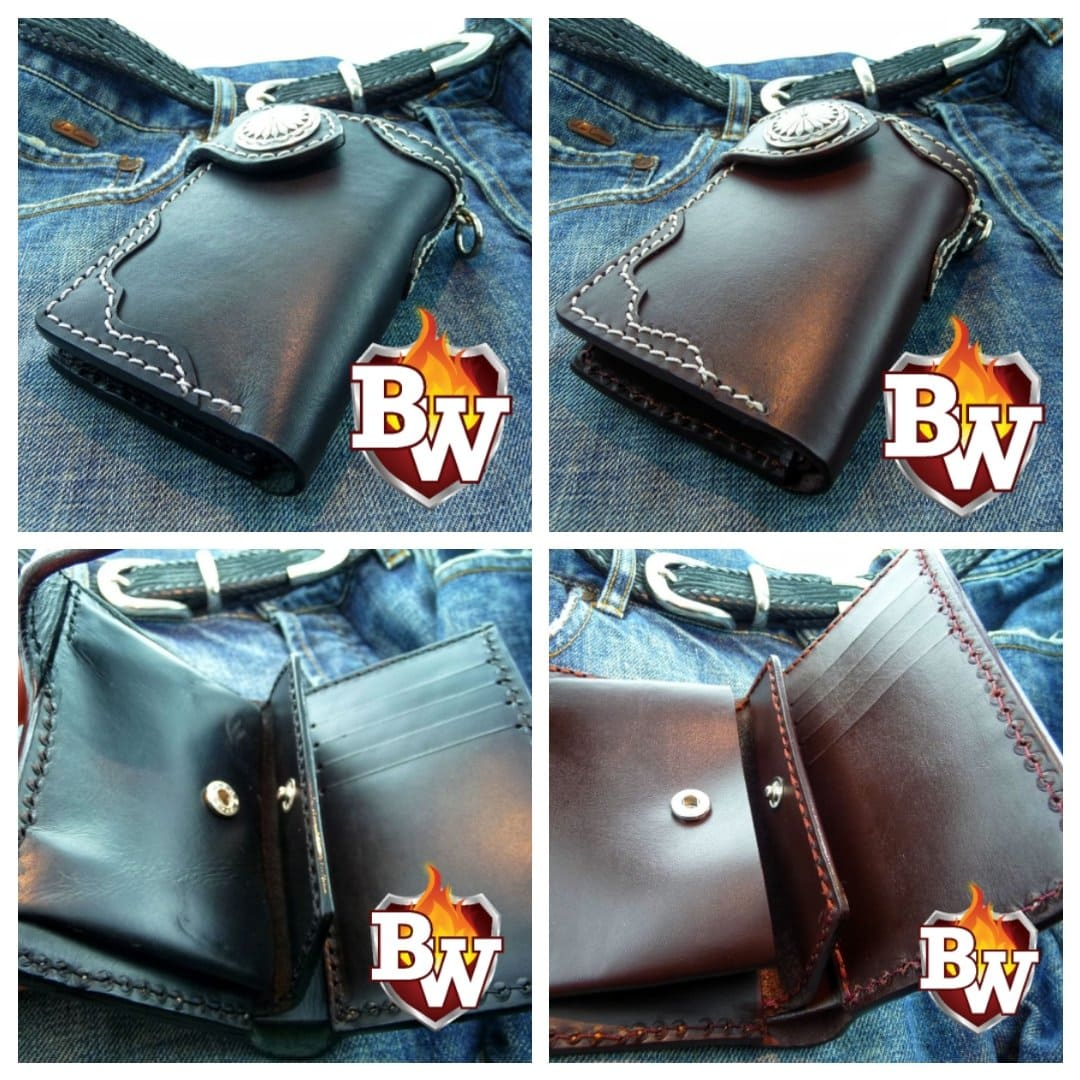 """Midnight Special 5"" Custom Handmade Saddle Leather Biker Wallet"