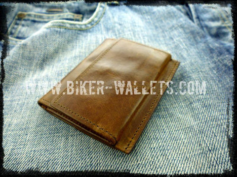 """Minimalist"" 3"" Leather Handmade Custom Biker Wallet"