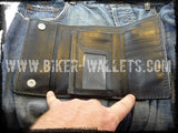 """Mom"" 6"" Custom Handmade Men's Leather Hand Tooled Biker Wallet"