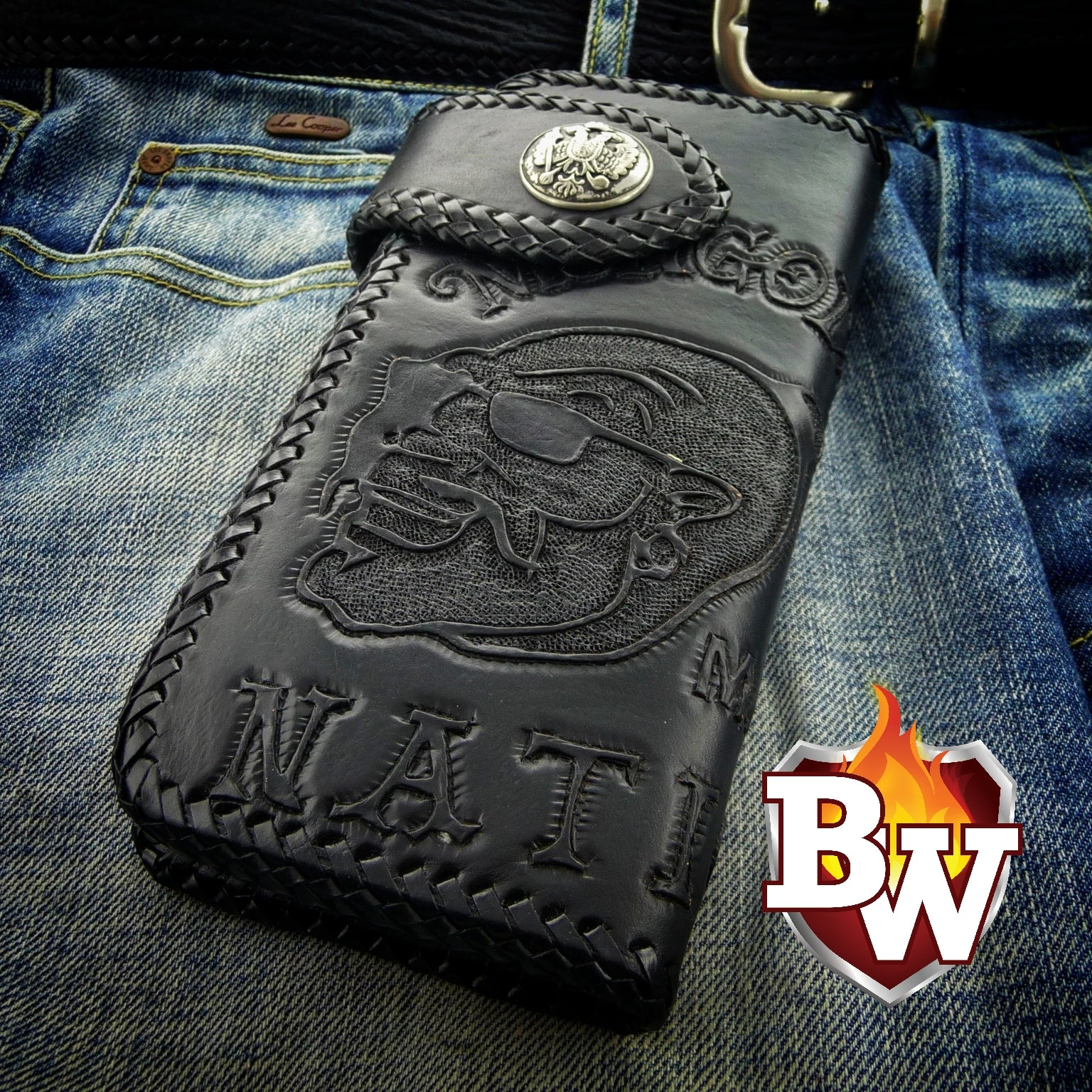 "Mongols Bro Head""  8"" Hand tooled handmade Biker Wallet."