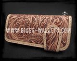 """Ranchero"" Natural 8"" Hand Tooled Custom Handmade Men's Biker Wallet"