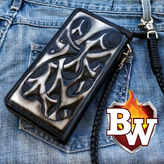 """NEURON"" Handmade Hand Tooled Leather Custom Chain Biker Wallet"