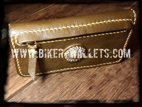 """Olive"" 7"" Leather Custom Handmade Women's Biker Wallet"