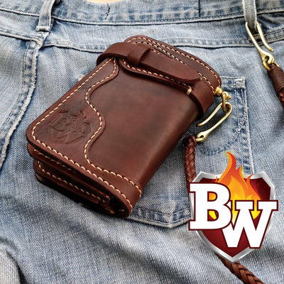 """ONE SHOT"" 6"" Leather Biker Chain Wallet"