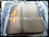 """Orange Crush"" 8"" Custom Handmade Leather Men's Biker Wallet"