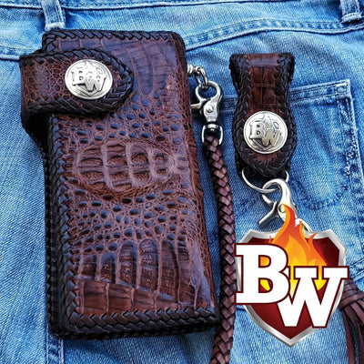 Plain Jane Exotic 8-inch  Men's Biker Wallet | Custom Handmade Men's Leather Wallets at Biker-Wallets.com