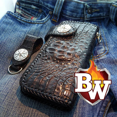 Black Croc Style 1 Plain Jane Exotic 8-inch  Men's Biker Wallet | Custom Handmade Men's Leather Wallets at Biker-Wallets.com