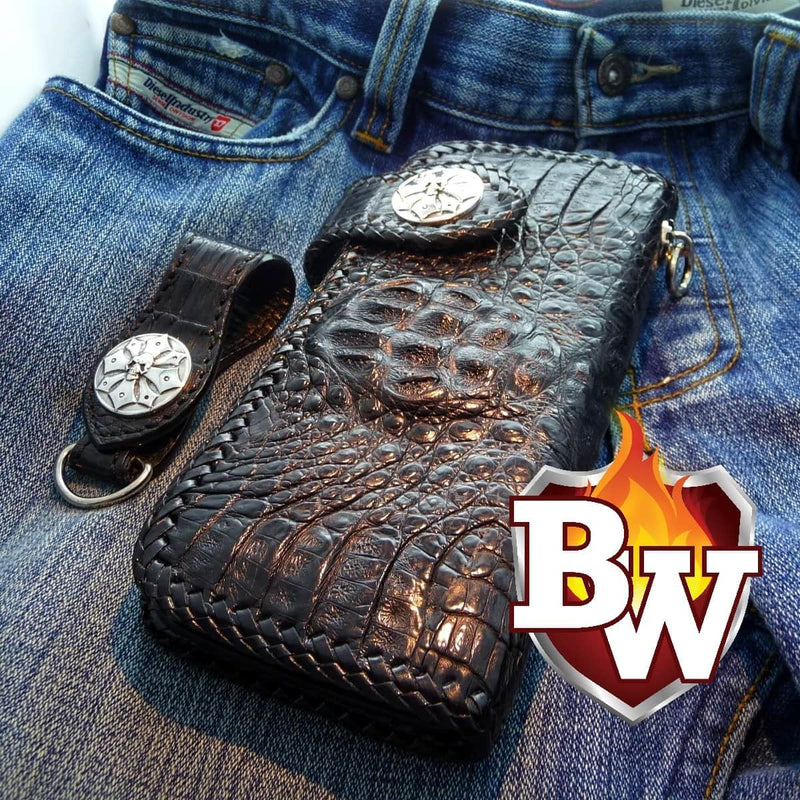 Black Croc Style 3 Plain Jane Exotic 8-inch  Men's Biker Wallet | Custom Handmade Men's Leather Wallets at Biker-Wallets.com