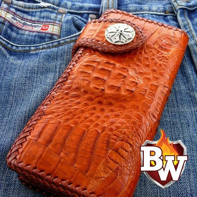 Python Style 1 Plain Jane Exotic 8-inch  Men's Biker Wallet | Custom Handmade Men's Leather Wallets at Biker-Wallets.com