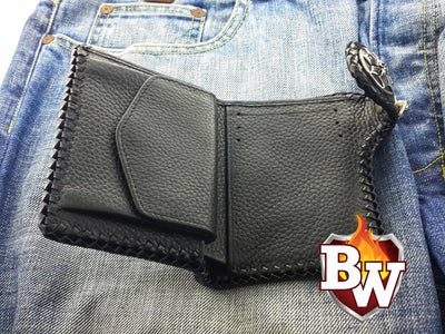 Outlaw 5-inch  Shark and Leather Men's Biker Wallet | Custom Handmade Men's Leather Wallets at Biker-Wallets.com