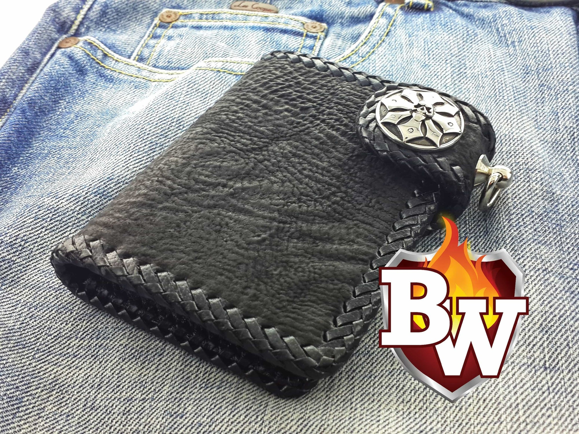 """Outlaw"" 5"" Custom Handmade Shark and Leather Men's Biker Wallet"