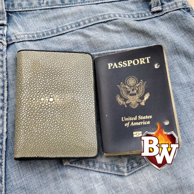 Light Gray Passport 5-inch Stingray  Passport Men's Biker Wallet | Custom Handmade Men's Leather Wallets at Biker-Wallets.com