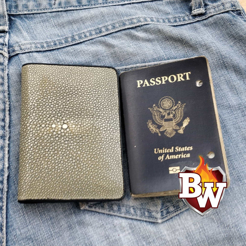 Blue Passport 5-inch Stingray  Passport Men's Biker Wallet | Custom Handmade Men's Leather Wallets at Biker-Wallets.com