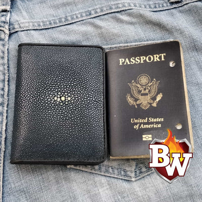Medium Gray Passport 5-inch Stingray  Passport Men's Biker Wallet | Custom Handmade Men's Leather Wallets at Biker-Wallets.com