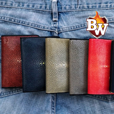 Dark Red Passport 5-inch Stingray  Passport Men's Biker Wallet | Custom Handmade Men's Leather Wallets at Biker-Wallets.com