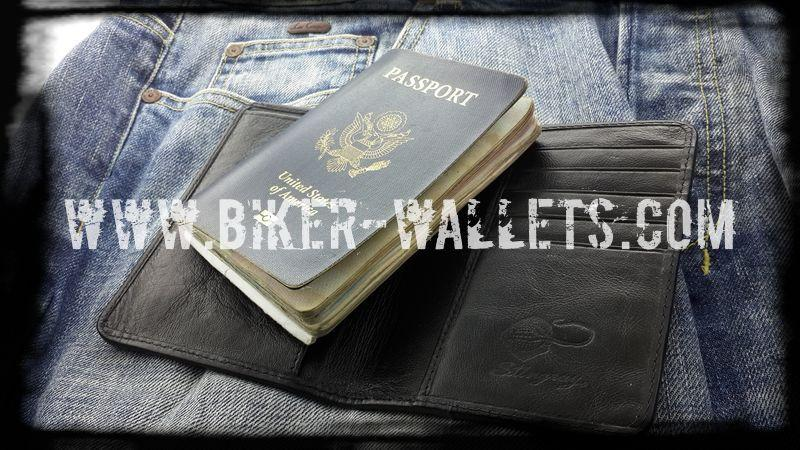"""Passport"" 5"" Custom Handmade Shark and Leather Men's Biker Wallet"