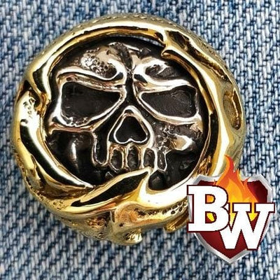 Skull and Rose Skulls  .925 Silver Snap Concho Cap for Biker Wallet | Custom Handmade Men's Leather Wallets at Biker-Wallets.com