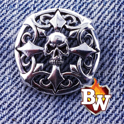 Cthulu Skulls  .925 Silver Snap Concho Cap For Biler Wallet | Custom Handmade Men's Leather Wallets at Biker-Wallets.com