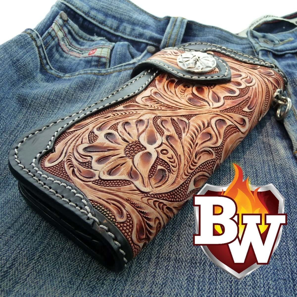 Western Rider 8 Leather Men's Biker Wallet - Handcrafted Quality Genine Leather Backed by a 5-Year Warranty - Biker-Wallets.com