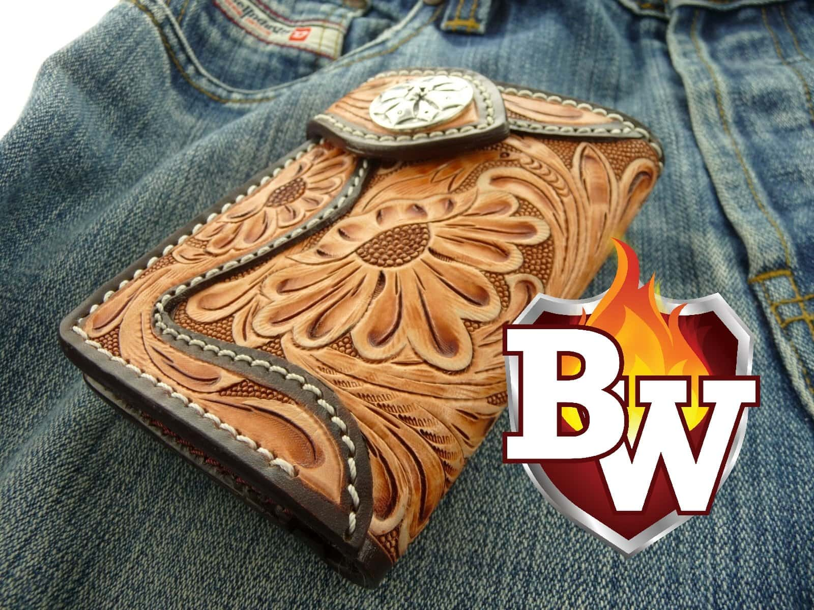 Western Rider Pip Squeek 6 Leather Men's Biker Wallet - Handcrafted Quality Genine Leather Backed by a 5-Year Warranty - Biker-Wallets.com