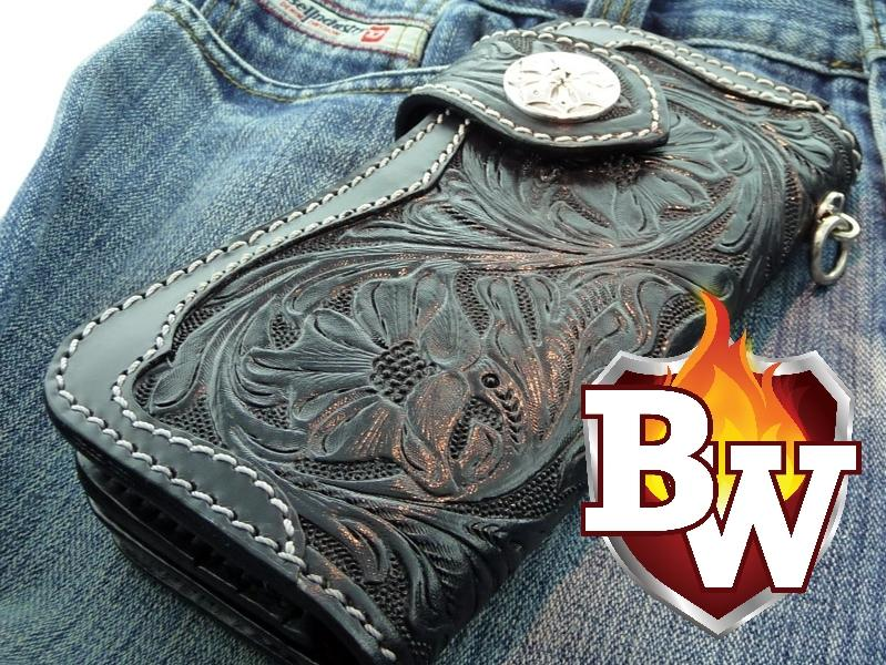 Black Rider 8 Custom Handmade Leather Men's Biker Wallet - Handcrafted Quality Genine Leather Backed by a 5-Year Warranty - Biker-Wallets.com