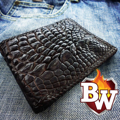 Black Alien 5-inch Crocodile  Men's Biker Wallet | Custom Handmade Men's Leather Wallets at Biker-Wallets.com