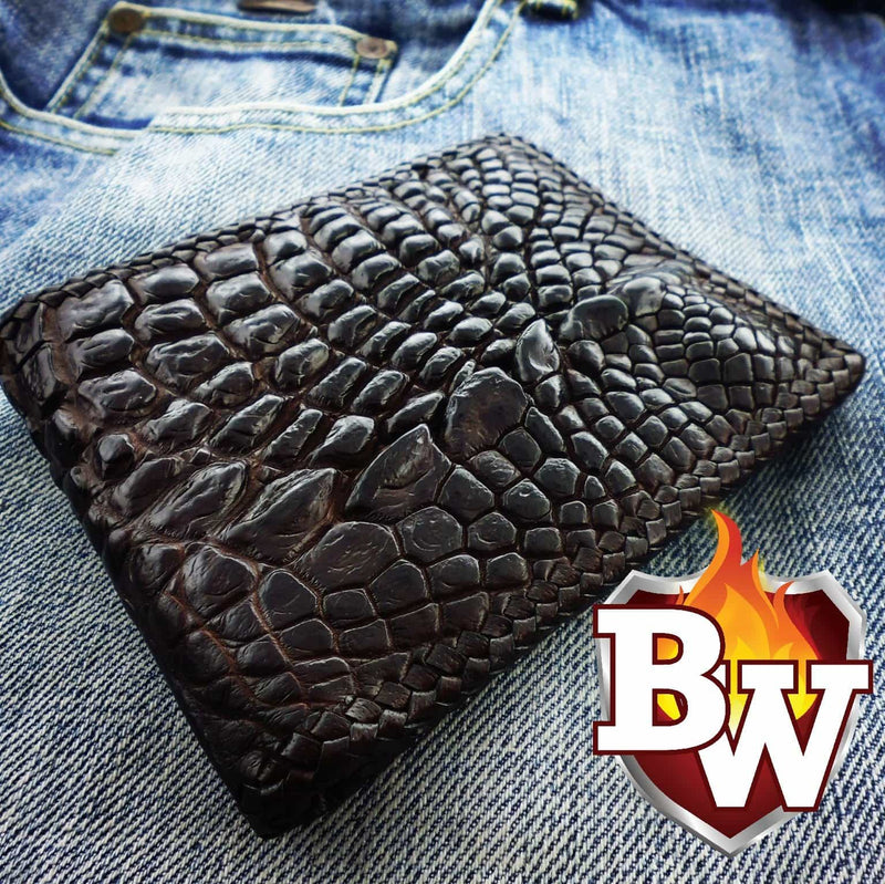 Brown Alien 5-inch Crocodile  Men's Biker Wallet | Custom Handmade Men's Leather Wallets at Biker-Wallets.com