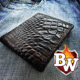 This is a back view of the biker wallet Alien.  You can see the crocodile skin texture and the contrast against a pair of bluejeans.  Makes a great edc or gift wallet.