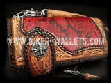 """Phoenix"" in Red 8"" Custom Handmade Hand Tooled Snake Skin and Leather Men's Biker Wallet"