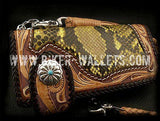 """Phoenix"" in Yellow 8"" Custom Handmade Hand Tooled Snake Skin and Leather Men's Biker Wallet"