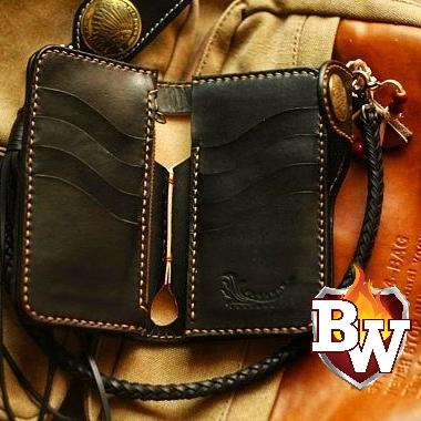 """Plain Jane Pip Squeek"" 6"" Custom Handmade Leather Men's Biker Wallet"