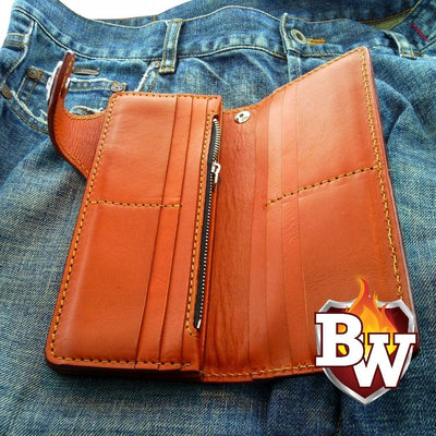 Plain Jane 8-inch  Leather Men's Biker Wallet | Custom Handmade Men's Leather Wallets at Biker-Wallets.com