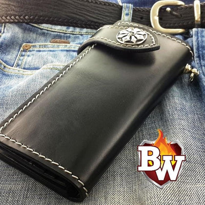 Tan Plain Jane 8-inch  Leather Men's Biker Wallet | Custom Handmade Men's Leather Wallets at Biker-Wallets.com