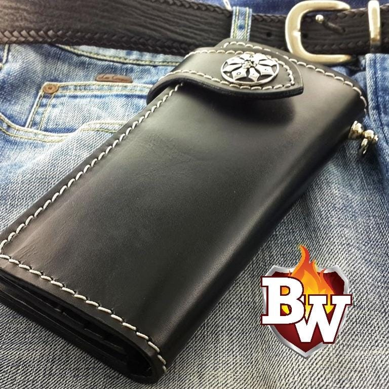Black Plain Jane 8-inch  Leather Men's Biker Wallet | Custom Handmade Men's Leather Wallets at Biker-Wallets.com