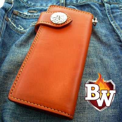 Red Ostrich Plain Jane 8-inch  Leather Men's Biker Wallet | Custom Handmade Men's Leather Wallets at Biker-Wallets.com
