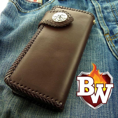 Brown Plain Jane 8-inch  Leather Men's Biker Wallet | Custom Handmade Men's Leather Wallets at Biker-Wallets.com