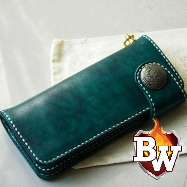 """Plain Jane"" 8"" Custom Handmade Leather Men's Biker Wallet"