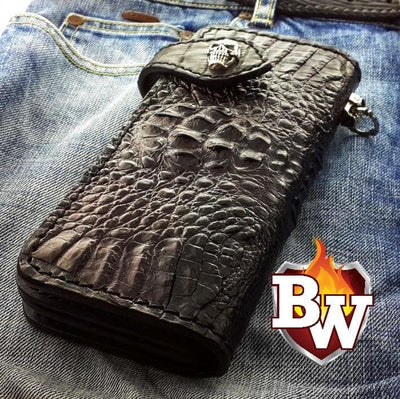 Black Croc Style 2 Plain Jane Exotic 8-inch  Men's Biker Wallet | Custom Handmade Men's Leather Wallets at Biker-Wallets.com