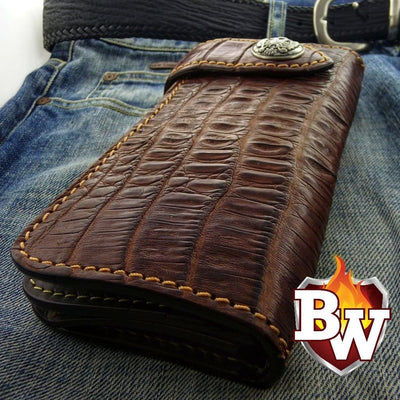 Brown Croc Style 3 Plain Jane Exotic 8-inch  Men's Biker Wallet | Custom Handmade Men's Leather Wallets at Biker-Wallets.com