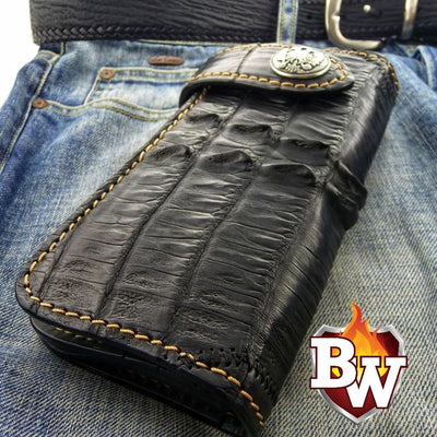 Brown Croc Style 1 Plain Jane Exotic 8-inch  Men's Biker Wallet | Custom Handmade Men's Leather Wallets at Biker-Wallets.com