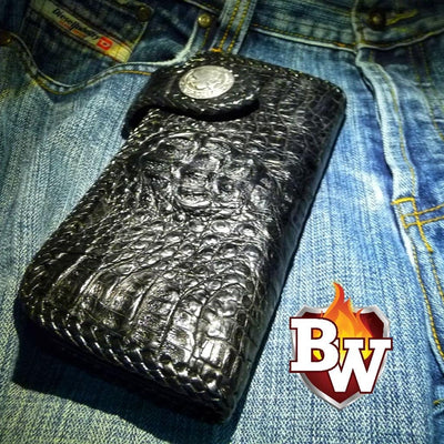 Black Croc Style 5 Plain Jane Exotic 8-inch  Men's Biker Wallet | Custom Handmade Men's Leather Wallets at Biker-Wallets.com