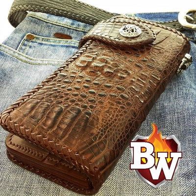 White Croc Style 1 Plain Jane Exotic 8-inch  Men's Biker Wallet | Custom Handmade Men's Leather Wallets at Biker-Wallets.com