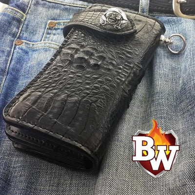 Black Croc Style 6 Plain Jane Exotic 8-inch  Men's Biker Wallet | Custom Handmade Men's Leather Wallets at Biker-Wallets.com